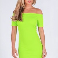 Off the Shoulder Textured Bodycon Dress In Neon Green