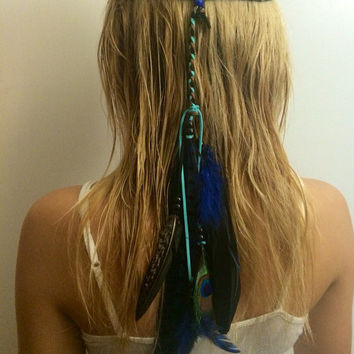 Blue, Peacock,Tribal Headband Native American, Feather Headband, Feather hair comb, bridal hair comb, feather extension, feather clip, hippi
