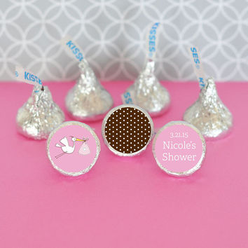 Personalized Pink Baby Shower Candy Kisses Labels Trio (Set of 108) - Girl Baby Shower Favors - Baby Girl Birthday Favors - Newborn Gifts
