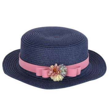 LMF78W Summer Elegant Floral Hats for Women Ladies Causal Beach Cap Vintage Women's Straw Hat with Bowknot