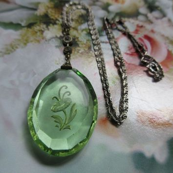 Vintage Reverse Carved Peridot Green Crystal Necklace