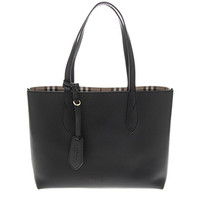 Burberry Women's Small Reversible Handbag in Haymarket Check and 1 Black