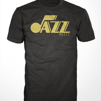 Jazz Music T-Shirt -music, jazz  tee, jazzy, jazz festival,utah,upright bass, piano, brass horns, sax, trumpet, drums, gift,91.1 jazz fm