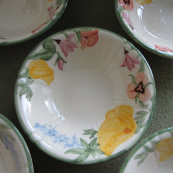 Franciscan Wildflowers Small Bowls Set of Five (5) Dessert Bowls 1942-1945 California Pottery
