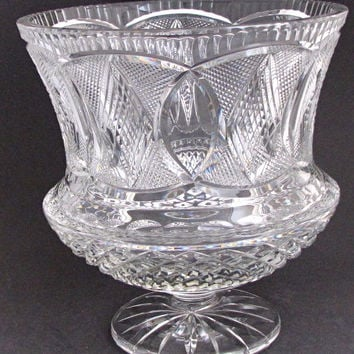 Hand Cut 24% lead crystal  large vase / bowl with space for etching 12.75 lb  Award