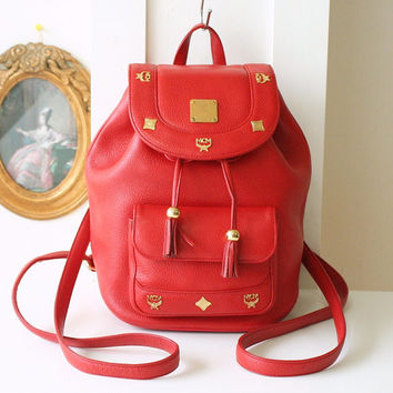 MCM Backpack Red Tassle Leather small vintage authentic bag