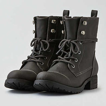 AEO Lace-Up Lug Bootie, Charcoal