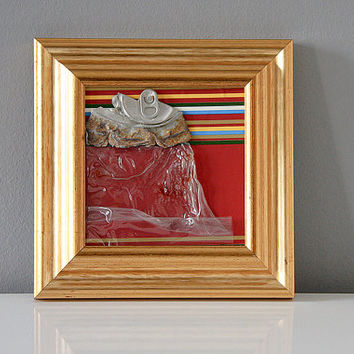Upcycled recycled assemblage ooak framed wall art gold burgundy plastic rusty can
