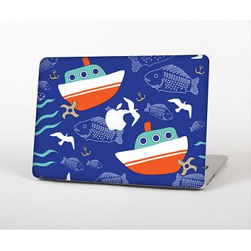 The Blue Vector Fish and Boat Pattern Skin for the Apple MacBook Air 13""