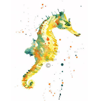 SEAHORSE Print of Original Watercolor Painting by eastwitching