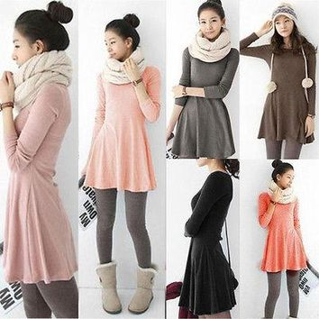 2015 Ladies Long Sleeve Warm Casual Cocktail Party Retro Solid Comfortable Dress