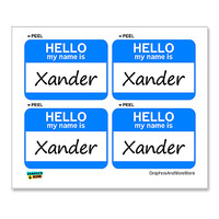 Xander Hello My Name Is - Sheet of 4 Stickers