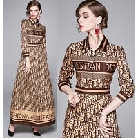 DIOR Autumn New Fashion Women Slim Print Long Sleeve Lapel Dress