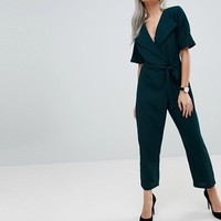 ASOS PETITE Wrap Jumpsuit with Self Belt at asos.com