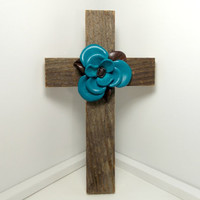 Cowboy Home Decor, Barnwood Cross, Western Home Decor, Rustic Wall Hanging, Barnwood Art, Turquoise Leather Flower