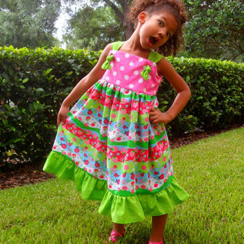 Girls Cute Summer Dress in Strawberry, Ladybug and Apple Pattern, Sizes 2T - 8