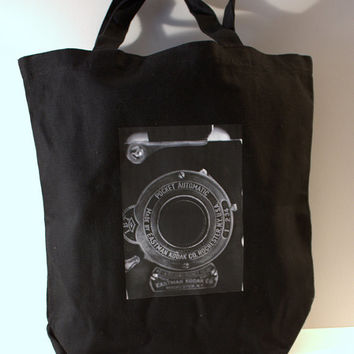 Vintage Camera Photo Black Canvas Tote Bag