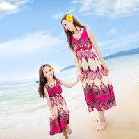 Mother and Daughter Outfits Sundress Ethnic Dress Bohemian Style Beach Dress Summer Maxi Long Dress Baby Girls Clothing