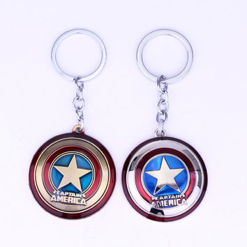 Marvel Super Hero The Avengers Captain America Shield Metal Keychain Pendant accessories Key Chains Key rings