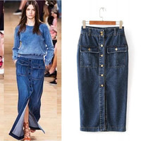 Blue Denim Double Pocket Pencil Maxi Skirt
