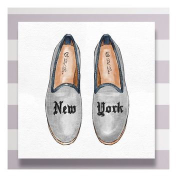 New York Slippers Graphic Art on Wrapped Canvas