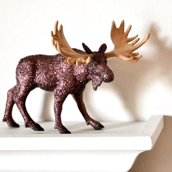 Woodland Glitter Moose Wedding Table Decoration for Rustic Winter Baby Showers, Man Caves, Spring Tablescapes or Birthday Party Centerpiece