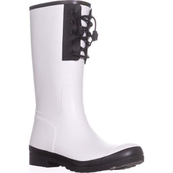 Sperry Top-Sider Walker Spray Lace Up Rain Boots, White/Black, 9 US / 40 EU