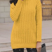 New Yellow High Neck Long Sleeve Going out Pullover Sweater