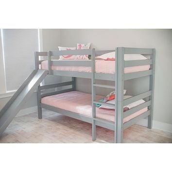 Kinsley Gray Wooden Bunk Bed with Slide