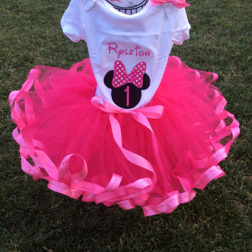 Custom birthday set, ribbon edge tutu set, special occasion, embroidered birthday outfit, handmade, dress up, phot prop, cake smash set