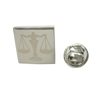 Silver Toned Etched Scale of Justice Law Lapel Pin