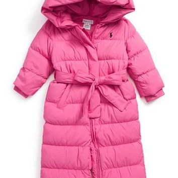 Infant Girl's Ralph Lauren Hooded Down Snowsuit,