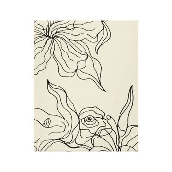 Abstract Flowing Floral Line Drawing Wall Art