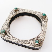 Vintage Square Carved Animal Blue Resin Bracelet from Nepal or Tibet with Silver Overlay