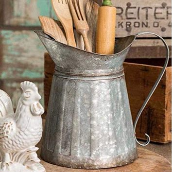 Benzara Vintage Style Galvanized Metal Milk Pitcher, Gray