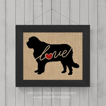 Saint Bernard (St. Bernard) Love - Burlap or Canvas / Wall Art Print for Dog Lovers: Great Gift / Personalized (Free Shipping)