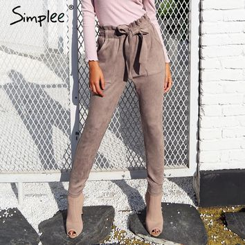 Suede high waist pencil pant bottom sash streetwear casual pants chic black winter trousers