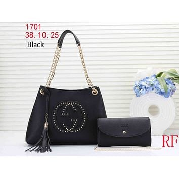 GUCCI tide brand female rivet double G logo shopping tassel bag shoulder bag Messenger bag two-piece Black