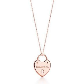Tiffany & Co. -  Tiffany Locks heart lock pendant in 18k rose gold on a chain.
