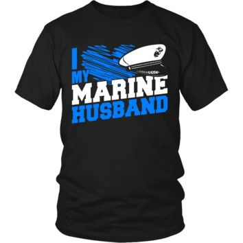 Funny I Love My Marine Husband Gifts T-Shirts For Men Women Kids