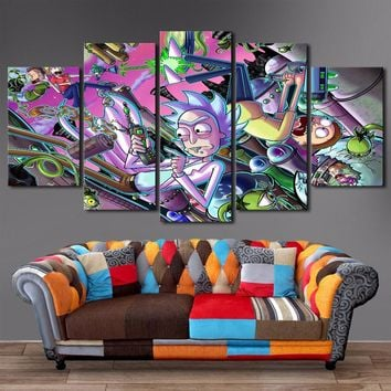 Rick and Morty poster Painting Wall Art 5 Panel Print Poster Framed UNFramed