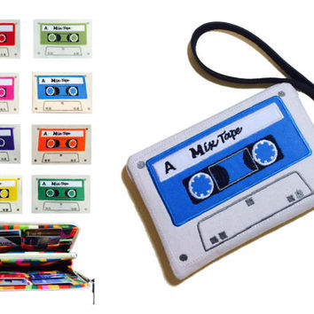 Wristlet Custom Cassette Tape Retro Embroidery Design Wallet Purse Leather Handle Credit Card Holder Side A and B