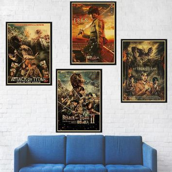 Cool Attack on Titan Japanese Anime  Posters Retro Kraft Paper Prints Livingroom Bedroom Wall Cartoon Art Painting Picture AT_90_11