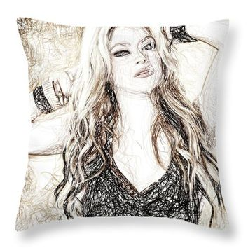 Shakira - Pencil Art Throw Pillow
