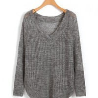 Gray V Neckline Knitwear with Cut Out Design and Curved Hem