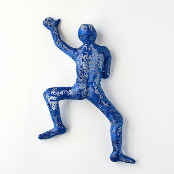 Climbing Figure - metal wall art - Unique gift - wire mesh sculpture - wall hanging - Metal art - blue