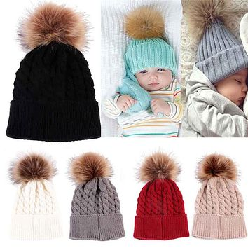 FEITONG Warm Kids Hat For Girl Boy Knitted Faux Fur Ball Twist Caps For Winter Beanie Dropshipping