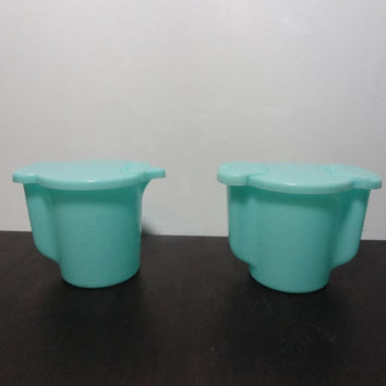 Vintage Tupperware Creamer Pitcher and Sugar Bowl Set - Turquoise or Aqua Blue Plastic Creamer Pitcher & Sugar Bowl