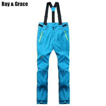 RAY GRACE Winter Woman Snow Pants Women's Sports Ski Pant Thermal Females Snowboard Trousers Skiing Outdoor Clothing Fleece Warm