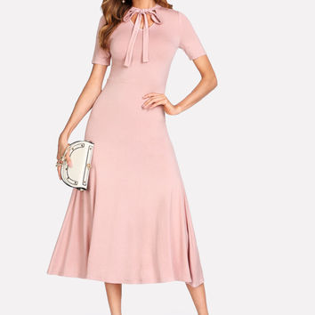 Tied Neck Solid Fit & Flare Dress